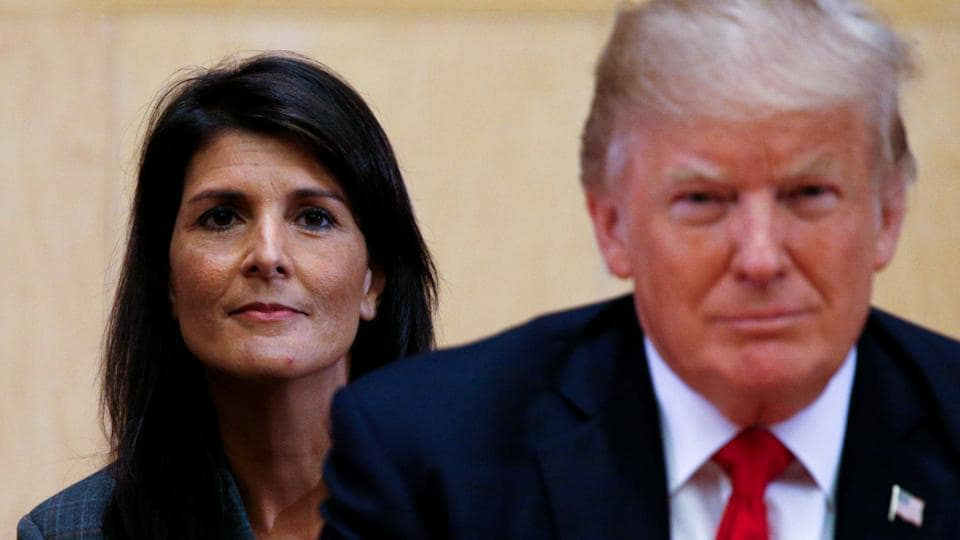 US envoy to the UN Nikki Haley (left) and US President Donald Trump at the UN Headquarters in New York on September 18, 2017.