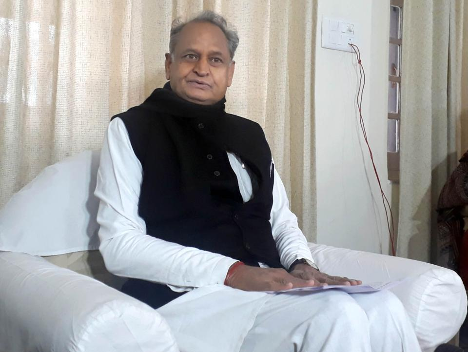 Former chief minister Ashok Gehlot speaks to media persons at his residence in Jaipur on Saturday.
