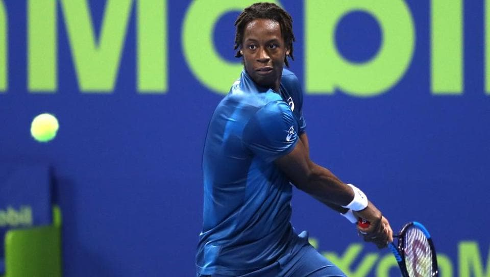 France's Gael Monfils in action during the ATP Qatar Open tennis competition in Doha.