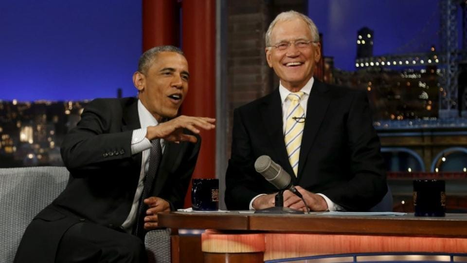 US President Barack Obama tapes an appearance on the Late Show with David Letterman at the Ed Sullivan Theater in New York, May 4, 2015.