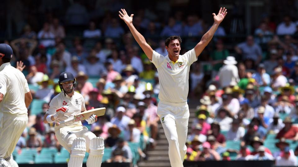 Australia declared at 649/7, a lead of 303 runs and Mitchell Starc dismissed Mark Stoneman for 0. (AFP)