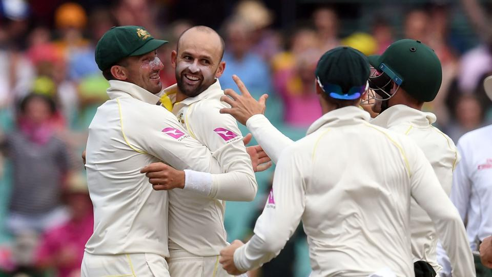 Nathan Lyon sent back Alastair Cook as he went past 20 wickets in the series. (AFP)