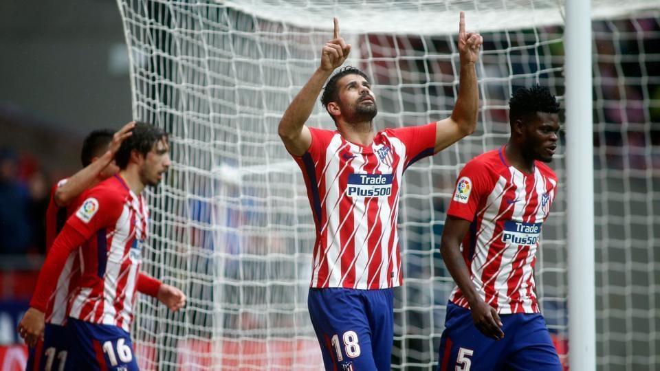 Atletico Madrid's Diego Costa celebrates a goal during a La Liga match vs Getafe CF at the Wanda Metropolitano Stadium in Madrid on Saturday.