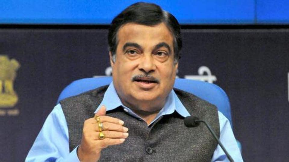 Nitin Gadkari addresses a press conference in New Delhi.