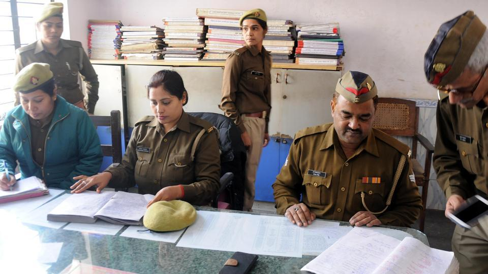 Cops at Gudamba police station in Lucknow.