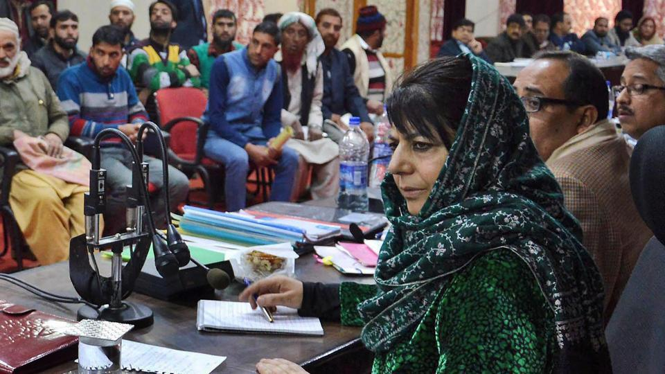 Jammu & Kashmir Chief Minister, Mehbooba Mufti interacting during her public outreach programme in Doda district on December 11, 2017.