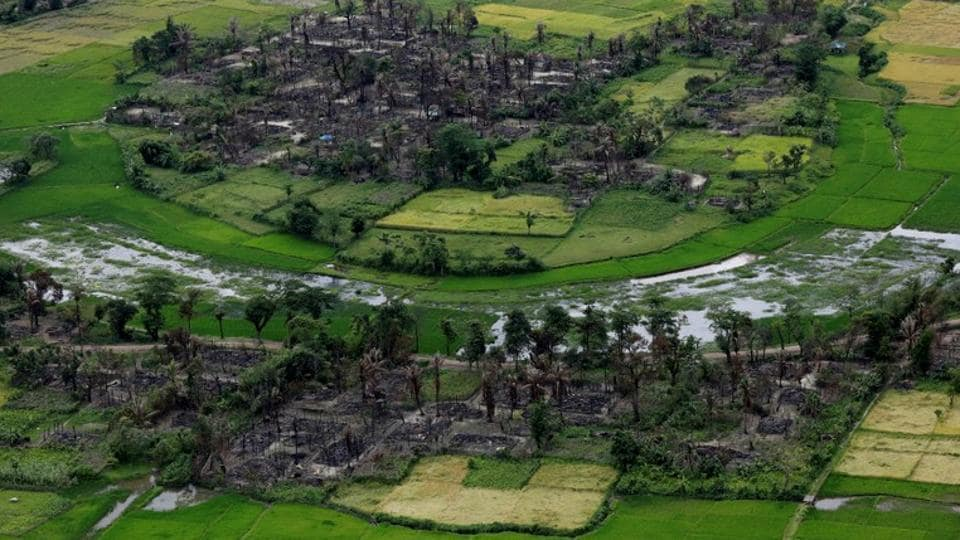 An aerial view of a burned Rohingya village near Maungdaw, north of Rakhine State, Myanmar.