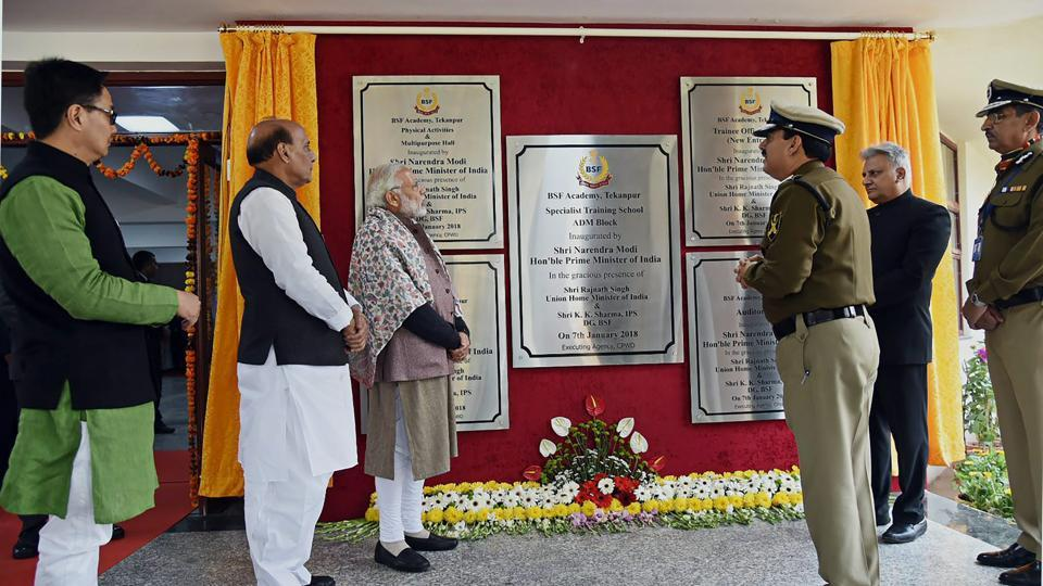 Prime Minister Narendra Modi at the Annual Conference of DGPs and IGPs at the BSF Academy, at Tekanpur, Madhya Pradesh on Sunday. Union home minister Rajnath Singh and MoS home affairs Kiren Rijiju is also seen.