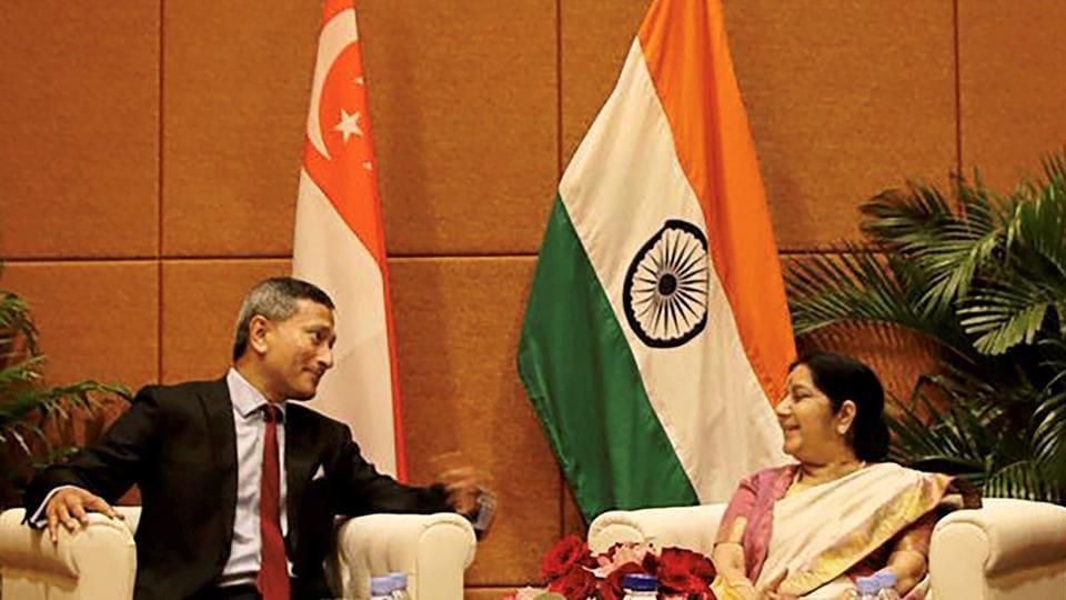 External affairs minister Sushma Swaraj with her Singaporean counterpart Vivian Balakrishnan in Singapore.