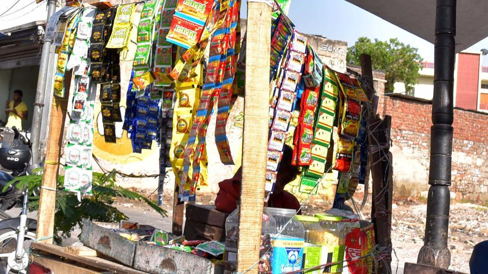 Tobacco products being sold at a makeshift shop ion Jaipur.