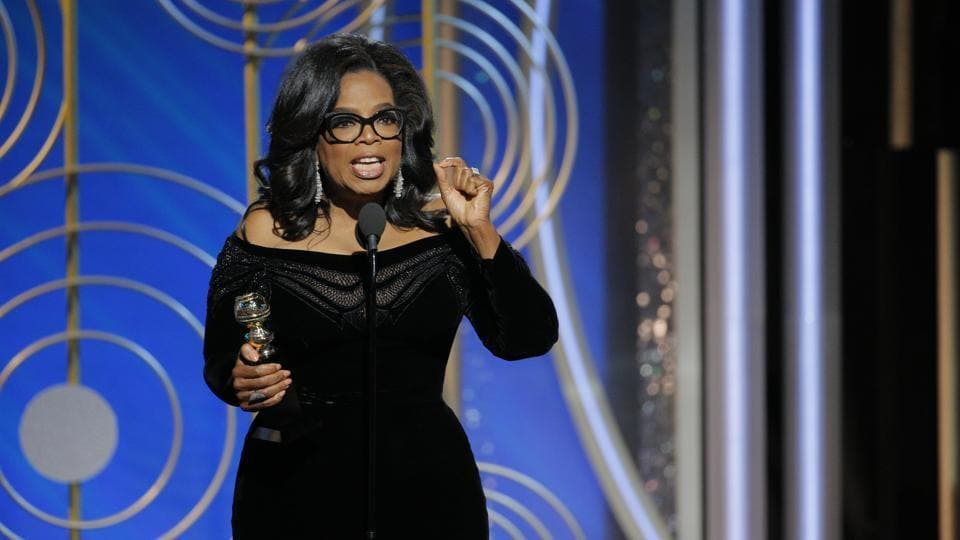 This image released by NBC shows Oprah Winfrey accepting the Cecil B. DeMille Award at the 75th Annual Golden Globe Awards in Beverly Hills on Sunday, Jan. 7, 2018.