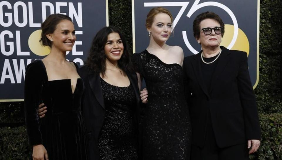 Actors Natalie Portman, America Ferrera, Emma Stone and retired tennis great Billie Jean King at the Golden Globe Awards