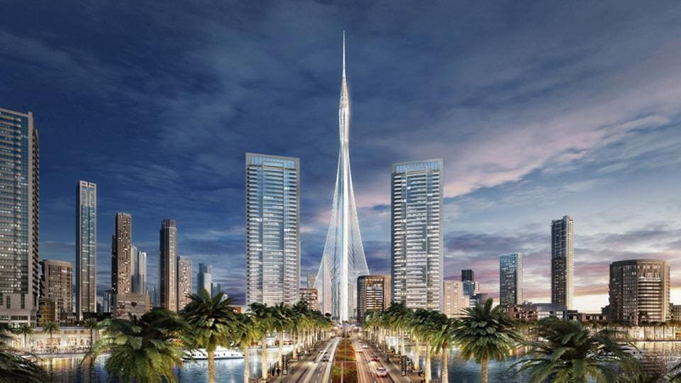 An artist's impression of the Dubai Creek Tower, which is set to eclipse the Burj Khalifa as the world's tallest structure, with a height of 928 metres when it is completed by 2020.
