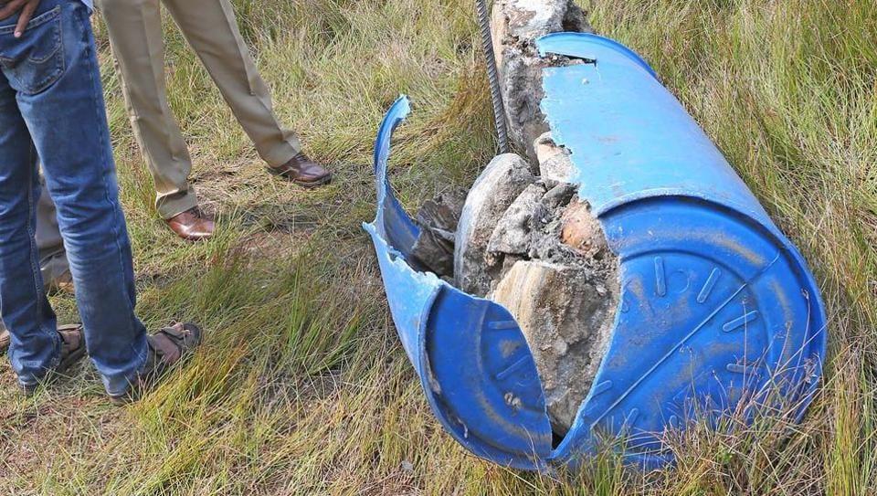 Human skeleton found abandoned inside barrel