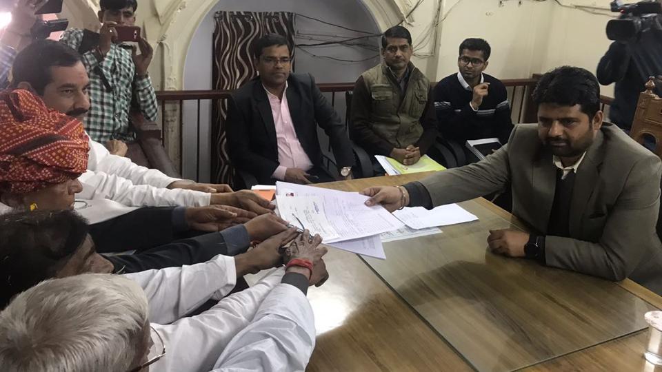 Congress's Karan Singh Yadav files his nomination papers for Alwar Lok Sabha bypoll.