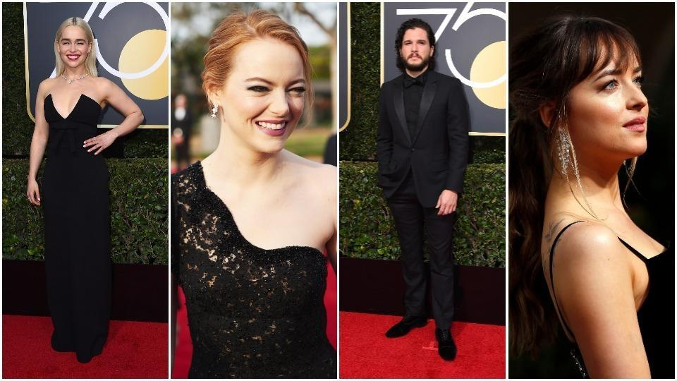 Emilia Clarke, Emma Stone, Kit Harington and Dakota Johnson arrive at the Golden Globes red carpet.