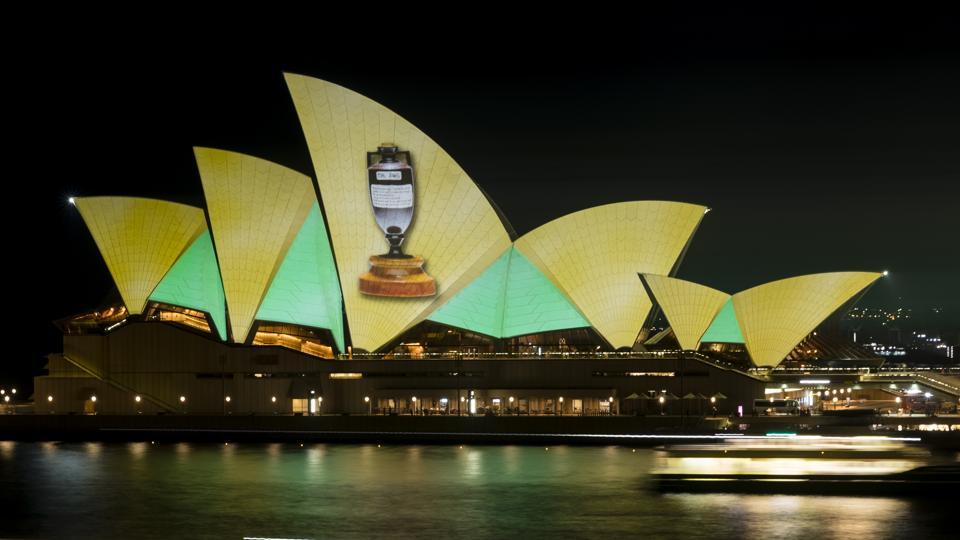 The Sydney Opera House lit up with green and gold projections after Australia completed a 4-0 series rout over England in Ashes. (Getty Images/Cricket Australia)