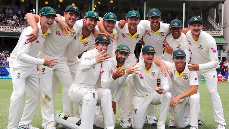 Australia's captain Steve Smith holds a replica Ashes urn next to team mates after they won the fifth Ashes Test match and the series 4-0.  (REUTERS)