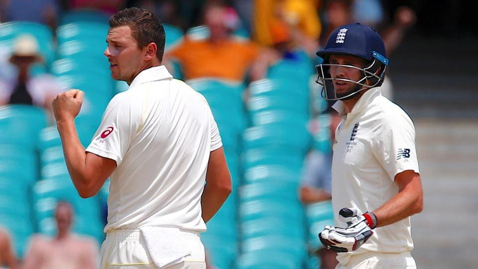 The win was confirmed when Josh Hazlewood (L) dismissed James Anderson to end England's brief resistance.  (REUTERS)