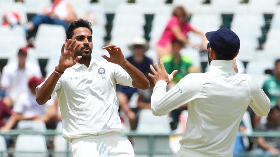 Bhuvneshwar Kumar took the wickets of Keshav Maharaj and Morne Morkel as South Africa were bowled out for 130, setting India a target of 208.  (BCCI )