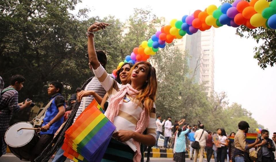 LGBTQ members and supporters, many wearing colourful costumes and holding balloons, participated in Delhi's 10th Queer Pride March from Barakhamba Road to Jantar Mantar, on November 12, 2017.