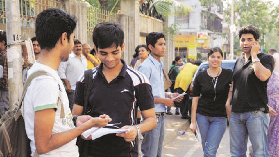 CATaspirants before appearing for the exam in Mumbai.