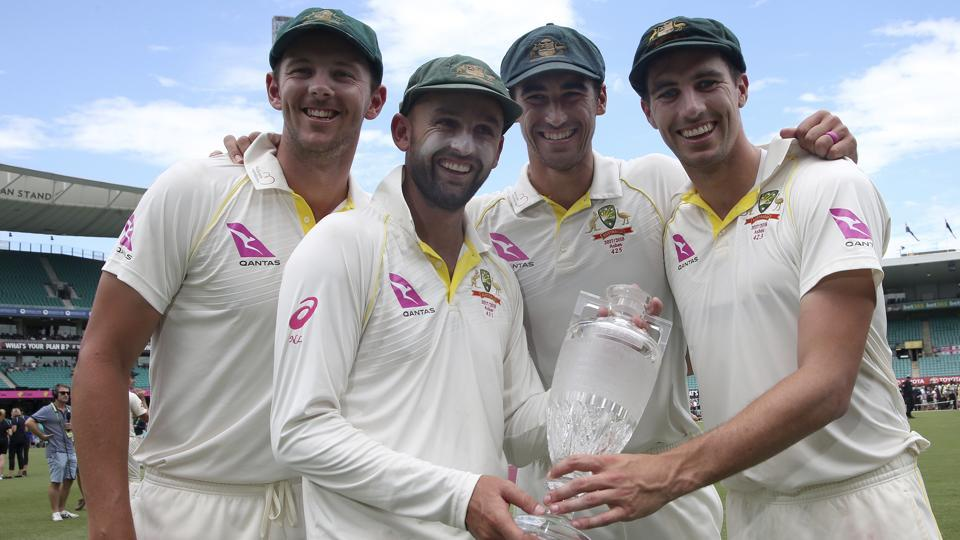 Australia's bowling quarter of (From L-R) Josh Hazlewood, Nathan Lyon, Mitchell Starc and Pat Cummins ensured England's batsmen stayed relatively silent throughout the series.  (AP)