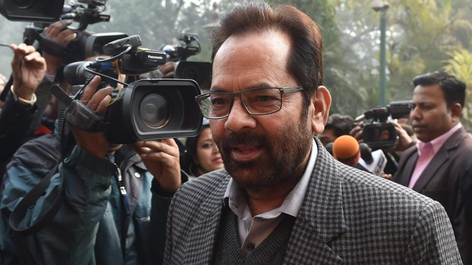 Union Minister for Minority affairs Mukhtar Abbas Naqvi during the winter session of Parliament , in New Delhi on January 5, 2017.
