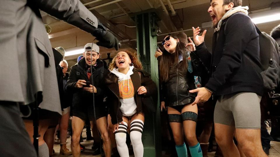People sing along while a band performs during No Pants Subway Ride in New York City. (Elizabeth Shafiroff / REUTERS)