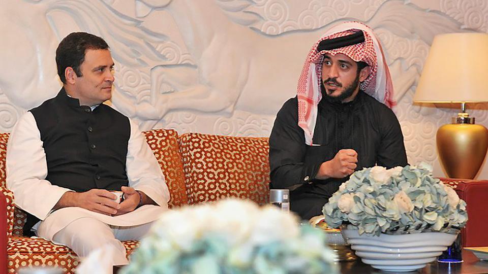 Congress president Rahul Gandhi with Prince Shaikh Khalid bin Hamad Al Khalifa at the Al Wadi Palace, Bahrain.