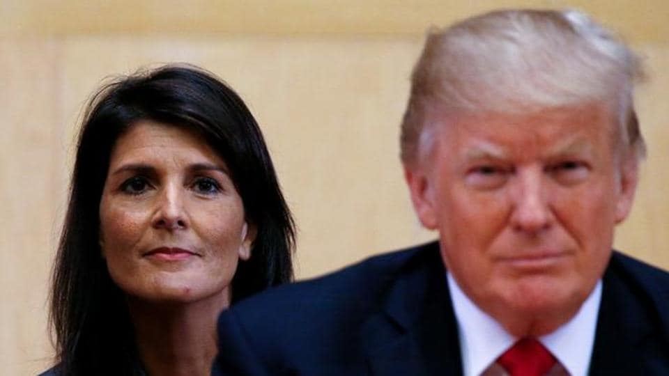 US Ambassador to the UN Nikki Haley and US President Donald Trump at UN Headquarters in New York, in September, 2017.