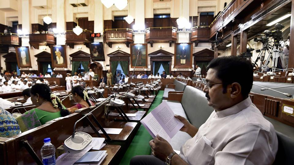Rebel AIADMK leader TTV Dhinakaran listens speech of Tamil Nadu governor Banwarilal Purohit on his maiden appearance as MLA after winning RK Nagar bypoll last month, in the state assembly in Chennai.
