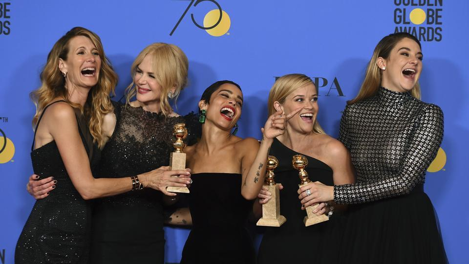 Laura Dern, from left, Nicole Kidman, Zoe Kravitz, Reese Witherspoon and Shailene Woodley pose in the press room with the award for best television limited series or motion picture made for television for Big Little Lies at the 75th annual Golden Globe Awards at the Beverly Hilton Hotel.