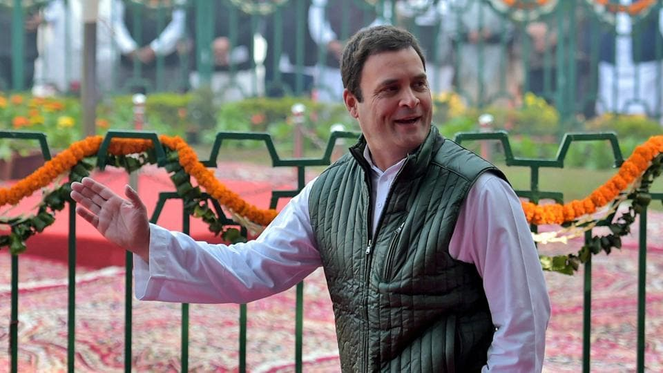 Rahul Gandhi at Congress headquarters in New Delhi.