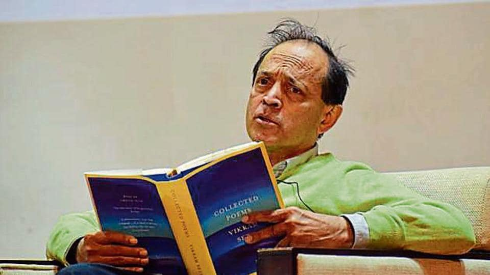Vikram Seth during a talk in Panjab University, Chandigarh, on Monday.