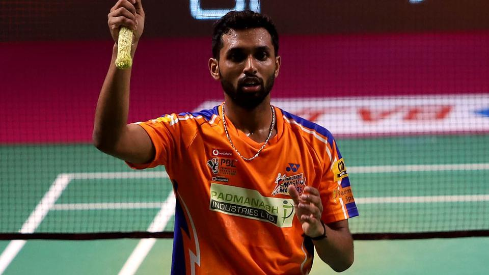 Ahmedabad Smash Masters' HS Prannoy (in pic) beat Mumbai Rockets' Son Wan Ho 15-12, 15-12 in the Premier Badminton League (PBL).