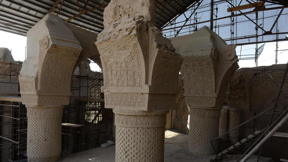 This photograph shows scaffolding for the ongoing conservation work at the ninth-century mosque Masjid-e Haji Piyada (mosque of the walking pilgrim) in Balkh Province.