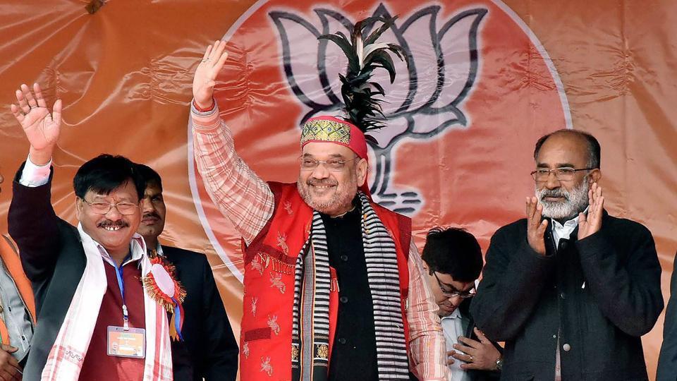 BJP president Amit Shah at an election rally in Tikrikilla High School playground in West Garo Hills, Meghalaya.