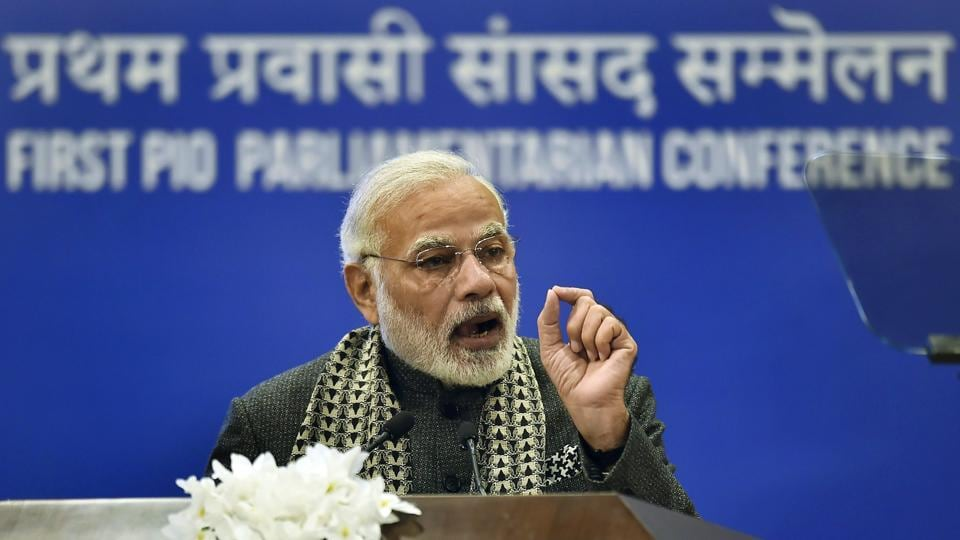 PM Narendra Modi addressed the first PIO Parliamentarians Conference and asked Indian origin lawmakers from across the world to partner in India's development and act as catalysts in the country's economic growth. He added, over half the total investment into the country has come in the last three years. (Kamal Singh / PTI)