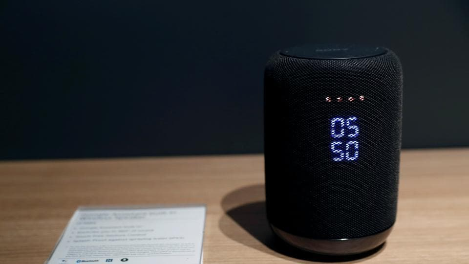 A Sony smartspeaker with Google Assistant built-in is displayed at the Sony booth during the 2018 CES in Las Vegas, Nevada, U.S. January 8, 2018.