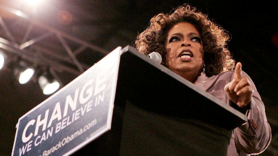 Talk show host Oprah Winfrey speaks at Barak Obama's rally in Des Moines, Iowa.