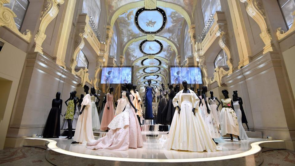 Dresses exhibited during the Dior exhibition that celebrated the seventieth anniversary of the Christian Dior fashion house at the Museum of Decorative Arts in Paris. More than 7,00,000 people visited the exhibition from July 5, 2017 to January 7, 2018 in Paris.
