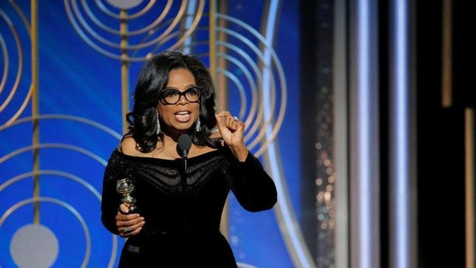 Oprah Winfrey speaks after accepting the Cecil B. Demille Award at the 75th Golden Globe Awards in Beverly Hills, California, U.S. January 7.