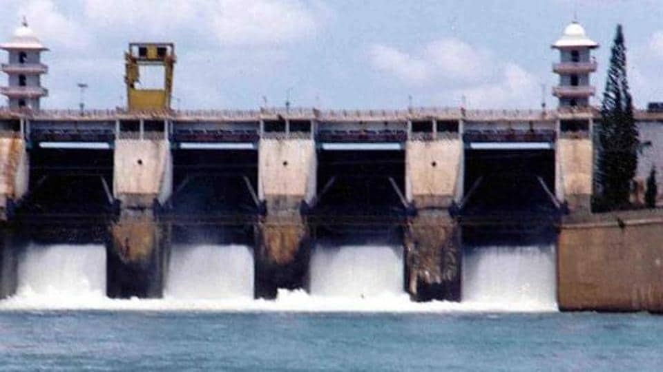 Picture dated 15 September 2002 shows Cauvery river water being released from the Kabini Dam at Heggadadevankote province about 165 kms south-west of Bangalore.