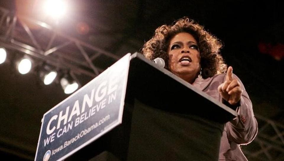 Talk show host Oprah Winfrey speaks at a rally for then Democratic presidential candidate Barak Obama in Des Moines, Iowa in December, 2007.
