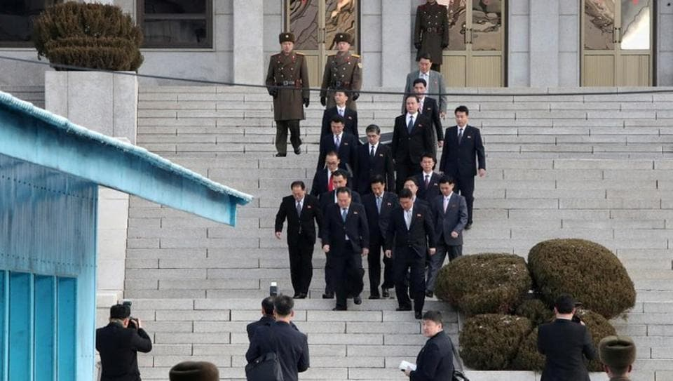 North Korean delegation led by Ri Son Gwon, chairman of the Committee for the Peaceful Reunification of the Country (CPRC) of DPRK, leave for the south side to attend their meeting at the truce village of Panmunjom in the demilitarised zone separating the two Koreas, South Korea on January 9.