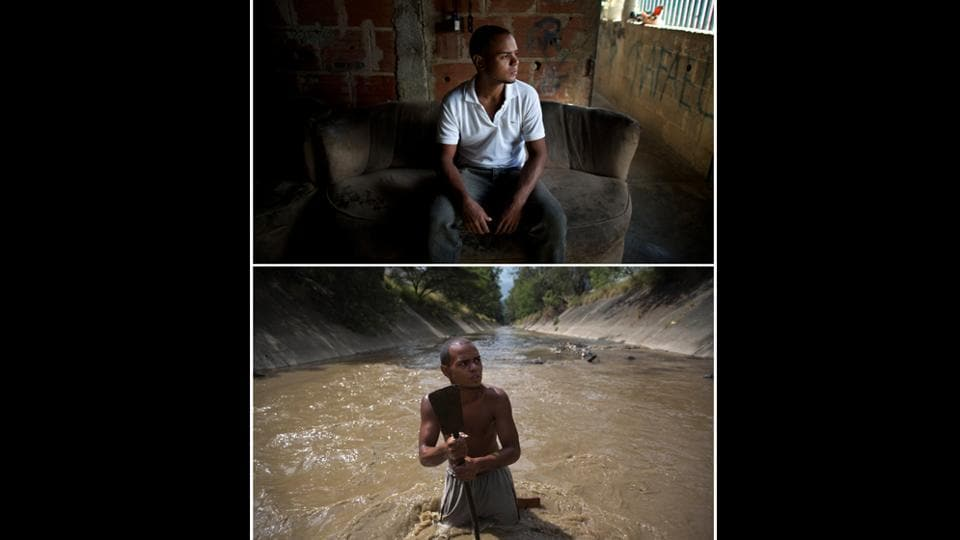 A composite shows Angel Villanueva at home, and in the river where he uses a metal bar to pry the bottom of the waterway. The 25-year-old turned to the river six months ago after losing his job. He earns upto $20 a day scavenging compared to the less than $7 monthly minimum wage for public employees at black market exchange rates. (Ariana Cubillos / AP)