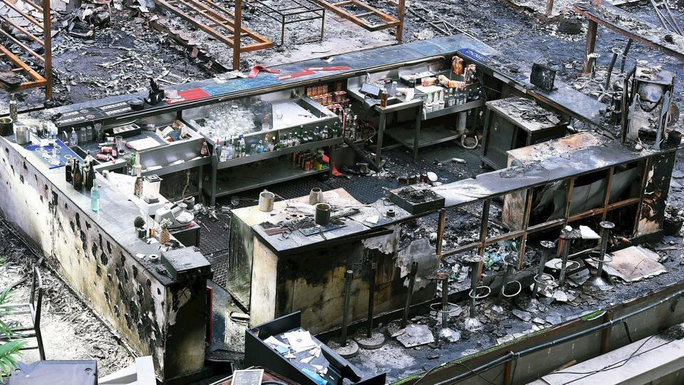 A view of the burnt down restaurant at Kamala Mills, in Mumbai on January 30, 2017.