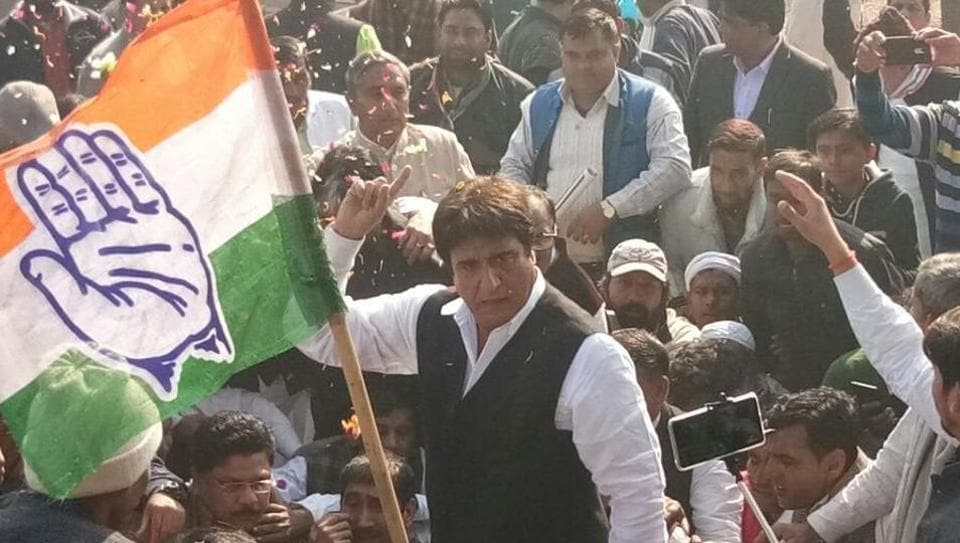 Uttar Pradesh Congress president Raj Babbar was detained by police during a farmers' movement in Mandola. (ANI Twitter)