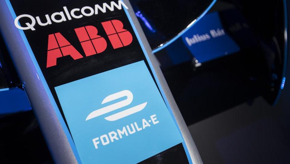 ABB logos are seen on the new livery of the FIA Formula E series car during a press conference at the Saatchi Gallery on Tuesday.